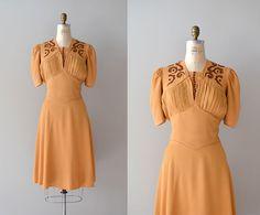 1930s dress / rayon 30s dress / Butterscotch Ganache dress. $225.00, via Etsy.