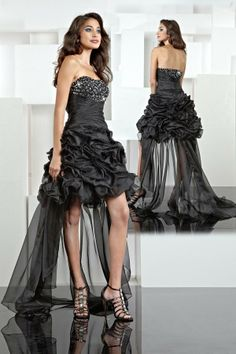 Short Black Wedding Dresses Color Ruffle Front And