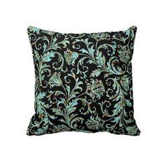 Black & Turquoise Ornate Damask Floral Pattern Pillow