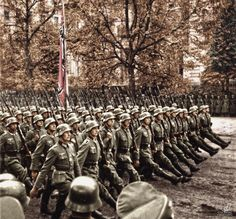 Wehrmacht soldiers during a parade. The Wehrmacht is the army of the Third Reich from 21 May 1935 and until its official dissolution in…」 German Soldiers Ww2, German Army, Military Photos, Military History, Germany Ww2, German Uniforms, The Third Reich, Historical Pictures, World War Ii