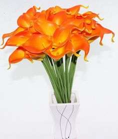Simpleyourstyle Calla Lily Artificial Flower 10pcs No Vase Bridal Wedding Bouquet 10 Head Latex Real Touch Flower Bouquets (Orange) -- You can find more details by visiting the image link.