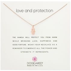 Dogeared Love and Protection ($58) ❤ liked on Polyvore featuring jewelry, hamsa hand jewelry, charm pendants, hand of god jewelry, hamsa jewelry and dogeared jewelry