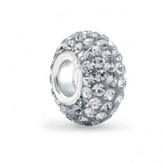 925 Sterling Silver Grey Swarovski Crystal Pandora Compatible Bead