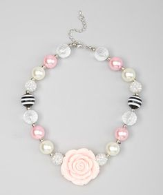 Look what I found on #zulily! Pink & Gray Rose Necklace #zulilyfinds