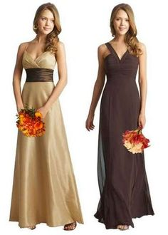 tan with sash= maid or matron of honor.  brown= bridesmaid. Different style dresses, same color