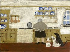 Cute Kitchen Illustration by Gary Bunt Old Lady & her dogs Blunt Art, Art Fantaisiste, Art Populaire, Dog Illustration, Inspiration Art, Dog Paintings, Naive Art, Outsider Art, Whimsical Art