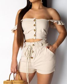 Off Shoulder Crop Top & Shorts Set Shop- Women's Best Online Shopping - Offering Huge Discounts on Dresses, Lingerie , Jumpsuits , Swimwear, Tops and More. Cropped Tops, Crop Top Und Shorts, Striped Cami Tops, Nasa Clothes, Pantsuits For Women, Off Shoulder Crop Top, Color Khaki, Chor, Playsuit