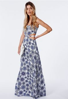 Daffne Porcelain Print Cut Out Maxi Dress - Maxi Dresses - Missguided