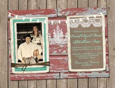 Wedding,Invitation, Red, Rustic,Barn, Wood, Turquoise,chandelier, Digital file, Printable on Etsy, $15.00