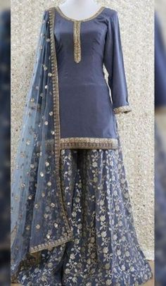 Buy Gray Color Sharara Suit by Akanksha Singh at Fresh Look Fashion Party Wear Indian Dresses, Pakistani Fashion Party Wear, Designer Party Wear Dresses, Pakistani Dresses Casual, Pakistani Wedding Outfits, Indian Gowns Dresses, Dress Indian Style, Pakistani Dress Design, Indian Designer Outfits