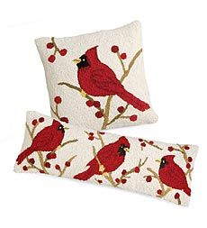I love cardinal everything when it comes to winter! Specially Christmas. Cardinal Hand-Hooked Wool Pillows