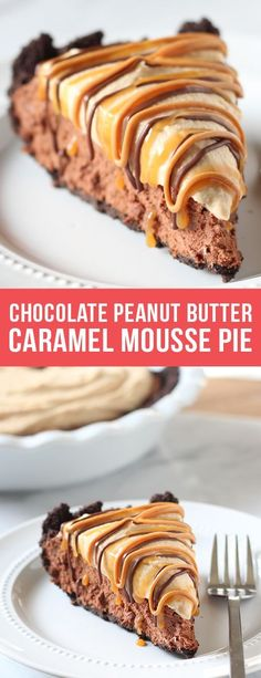 Chocolate Peanut Butter Caramel Mousse Pie made with an Oreo crust, chocolate caramel mousse filling, and peanut butter whipped cream to top. #chocolate #caramel #peanutbutter #pie #dessert #recipe #food #pierecipes