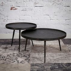 Roos salontafel set van twee rond Round Coffee Table Modern, Coffe Table, Large Table, Small Tables, Designer Couch, Mid Century Living Room, Table Height, Kitchen Decor, Interior