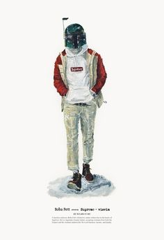HE WEARS IT 005 - Boba Fett wears Supreme and visvim. I've often said my two favorite things- food and fashion rarely mix well. My hat is off to John Woo, who mixes fashion and Starwars with a delightful result.