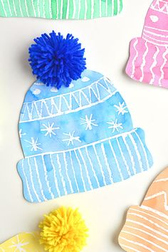 This winter hat art project for kids is such a fun winter craft idea! Use the free printable winter hat template to have a fun day of crafting at home or in the classroom! This process art idea lets y Kids Winter Hats, Winter Crafts For Kids, Winter Art Projects, Projects For Kids, Painting For Kids, Art For Kids, Craft Kids, Art Children, Hat Template