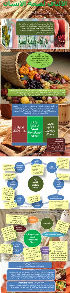 Arabic infographic on fiber definition and classifications. That is the first infographics on fiber in which I explain the definition and classification according to scientific bodies.