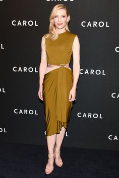 The actress wears a Lanvin dress with sexy cut out and Louboutin shoes at the New York premiere of her new movie Carol.