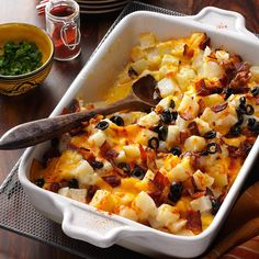 This goes great with any main course, but it's especially good with ham.   Bacon Cheese Potatoes Recipe from Taste of Home
