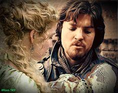 #TheMusketeersBBC Tom Burke as Athos; Annabelle Wallis as Ninon de Larroque; baby Louis as Raoul de Bragelonne #Athinon