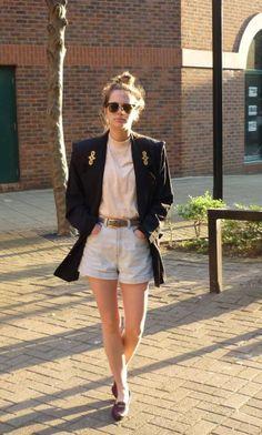 The High-Waist Denim Cuff Short in Light Wash Indigo by #AmericanApparel.  #denim #shorts #fashion