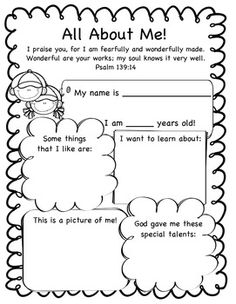 All About Me! God Made Me printable. This worksheet lets ...