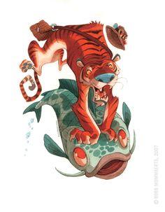 Fishin' Tiger by RobbVision.deviantart.com