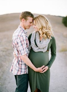 Solid green dress with a scarf, belt + plaid shirt // maternity photos outfit