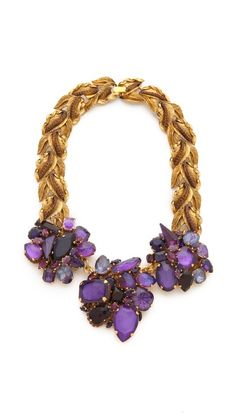 AERIN Erickson Beamon Leaf & Stone Necklace Fall/Winter 2014