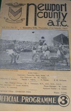 21 March 1957 v Newport County Lost