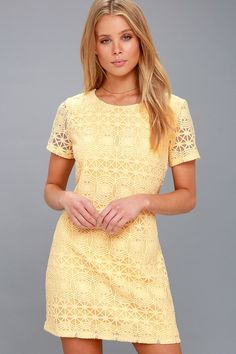 Lulus Exclusive! The Love You For Eternity Yellow Lace Shift Dress is always on our minds! Lovely lace and mesh shapes a rounded neckline atop a darted bodice with short sleeves. The shift silhouette falls into a flirty, leg-baring length. Exposed gold back zipper.