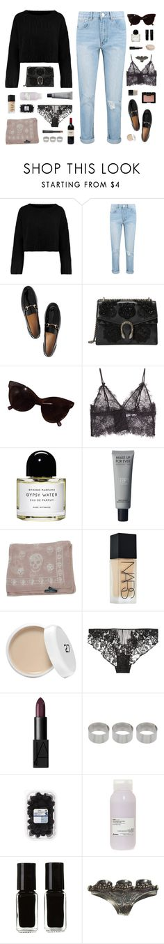 """Untitled #92"" by insomnniaa ❤ liked on Polyvore featuring Boohoo, Gucci, NARS Cosmetics, Anine Bing, Butter London, Byredo, Alexander McQueen, Kiki de Montparnasse, ASOS and Davines"