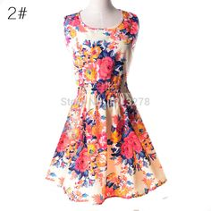 19 Colors 2017 New Summer Women Dress Casual Sleeveless Chiffon Stripe Floral Print Dress Vestidos Femininos Beach Dresses Flowy Summer Dresses, Short Beach Dresses, Mini Dresses, Dress Summer, Dress Beach, Skater Dresses, Summer Sundresses, Cheap Dresses, Party Dresses