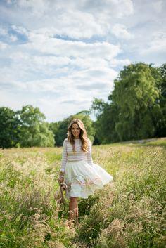 Outfit Details: On Julia- Gap Tee, Joie Skirt (on sale), Ferragamo Flats,