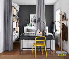 You don't always need more room when you have a small space. Smart IKEA storage solutions can help you stay organized and curtains hung from the ceiling let you go from wide open to private instantly!