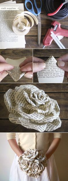 Storybook Paper Roses bouquet. It would killlll me to rip apart a book for this, but this is SUCH a cool idea cost effective. Smaller ones can be made for the bridesmaids. My only concern is if the ink rubs off on the dress.