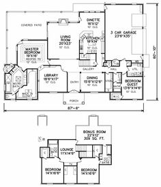 2 story floor plan- I'd put in a secret door leading from the master to the library for those late night reading sessions