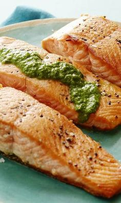 Pan Seared Salmon with an Herb Pesto Vinaigrette