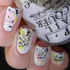 Pinned from www.lovevarnish.com A splatter nail art using Maybelline Bleached Neon shades