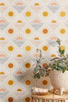 Shop Geo Sun Removable Wallpaper at Urban Outfitters today. We carry all the latest styles, colors and brands for you to choose from right here. Summer Deco, Decoration Bedroom, Wall Decor, Decoration Crafts, Wall Lamps, Geometric Patterns, Geometric Lines, Disney Tapete, Geometric Removable Wallpaper