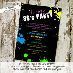 Hey, I found this really awesome Etsy listing at https://www.etsy.com/listing/107797571/80s-themed-birthday-party-invitations