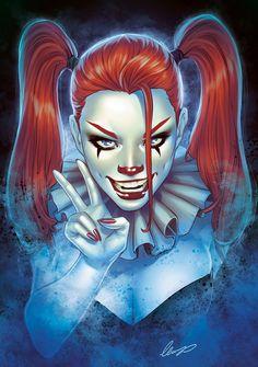 Horror Harlequin inspired by Harley Quinn & Pennywise Horror Harlequin Zombie Disney, Princesas Disney Zombie, Joker Und Harley Quinn, Harley Quinn Drawing, Harley Quinn Cosplay, Bd Comics, Halloween Kostüm, Horror Art, Gotham