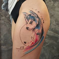 Simona Blanar Watercolor dog tattoo - Simona Blanar Watercolor dog tattoo You are in the right place about Simona Blanar Watercolor dog t - Celtic Tattoos, Wolf Tattoos, Animal Tattoos, Face Tattoos, Tattoo Symbols, Pet Tattoos, Home Tattoo, Czech Tattoo, Husky Tattoo