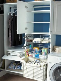 What To Put In Laundry Room Cabinets.Ikea Laundry Room Home Design Ideas Renovations Photos. Modern Laundry Room With Custom Laundry Cabinets And Shelving. 20 Stylish And Hidden Laundry Room Designs HomeMydesign. Home and Family Laundry Storage, Tiny Laundry Rooms, Room Shelves, Blue Laundry Rooms, Small Storage, Room Storage Diy, Clever Storage, Small Laundry Room Organization, Laundry Room Organization Storage