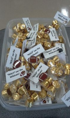 """""""Rolo"""" ver the wildcats!  Treats for the players from the cheerleaders."""