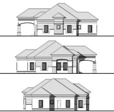 Ground Floor: Ante room Living room Dining Kitchen Laundry Store Three rooms en suite see 3 Bedroom Home Floor Plans, Bungalow Floor Plans, Three Bedroom House Plan, Home Design Floor Plans, Bungalow Style House, 3 Bedroom Bungalow, 4 Bedroom House Designs, Duplex House Design, House Plans Mansion