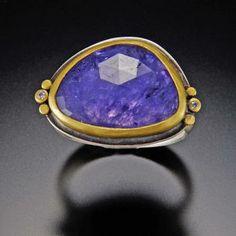 Tanzanite Ring with 22k Dots and Diamonds | Ananda Khalsa Jewelry