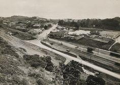 PAEKAKARIKI, Kapiti Coast -1929, looks down on the intersection of State Highway One, the Main Trunk railway line and Beach Road .. OWR 20 Jan 2015