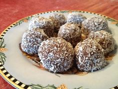 """""""Super Charged"""" Snowballs (chia seed, coconut flour, cocoa, honey and more)  Looks good!"""