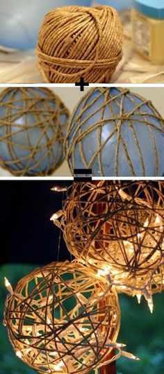 Laternendeko selber basteln aus Schnur und Luftballons Make your own lantern decoration out of twine Outdoor Projects, Craft Projects, Projects To Try, Craft Ideas, Best Diy Projects, Outdoor Crafts, Diy And Crafts, Arts And Crafts, Twine Crafts
