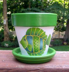 Painted Green Fish Terra Cotta Flower Pot by EllensClayCreations, $12.00
